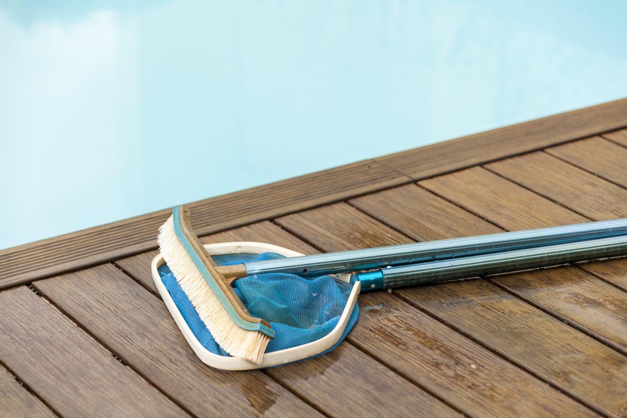 cepillo y recogehojas de piscina
